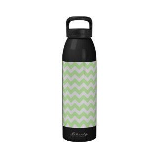 Celery Green, White Chevron ZigZag Pattern Water Bottle