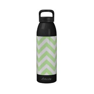 Celery Green, White Large Chevron ZigZag Pattern Drinking Bottles