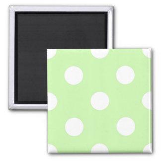 Celery Green White Large Polka Dot Pattern 2 Inch Square Magnet