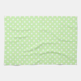 Celery Green White Polka Dot Pattern Hand Towels