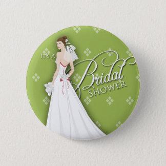 Celery Green White Vintage Bridal Shower Pin