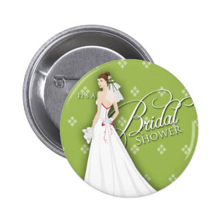 Celery Green White Vintage Bridal Shower Pin