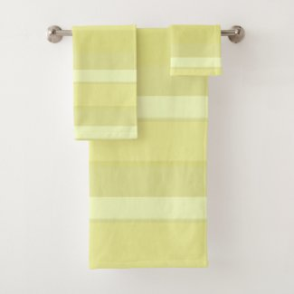 Celery Pastel Wide Stripe Bath Towel Set