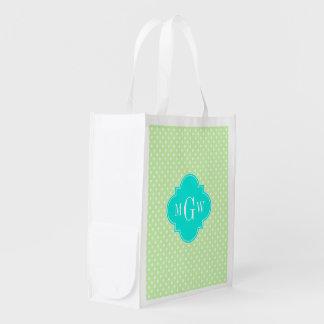 Celery Polka Dot Aqua Quatrefoil 3 Monogram Reusable Grocery Bag