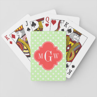 Celery Polka Dot Coral Red Quatrefoil 3 Monogram Playing Cards