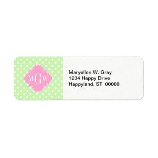 Celery Polka Dot Pink Quatrefoil 3 Monogram Custom Return Address Label