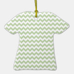 Celery Root And White Zigzag Chevron Pattern Christmas Ornaments