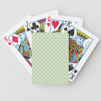 Celery Root, Mint Green And White Quatrefoil Bicycle Playing Cards