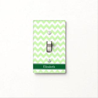 Celery White Chevron Forest Green Name Monogram Light Switch Cover
