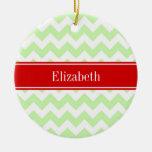 Celery White Chevron ZigZag Red Name Monogram Double-Sided Ceramic Round Christmas Ornament