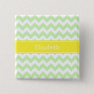 Celery White Chevron ZigZag Yellow Name Monogram Pinback Button