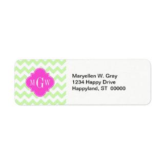 Celery Wht Chevron Hot Pink Quatrefoil 3 Monogram Return Address Label