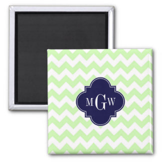 Celery Wht Chevron Navy Blue Quatrefoil 3 Monogram 2 Inch Square Magnet
