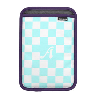 Celeste and White Checkered Monogram iPad Mini Sleeve