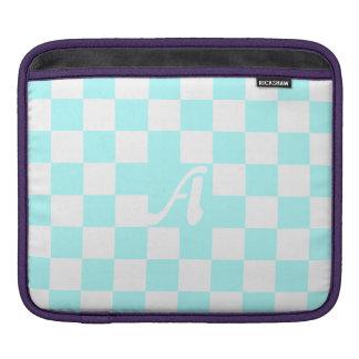 Celeste and White Checkered Monogram Sleeve For iPads