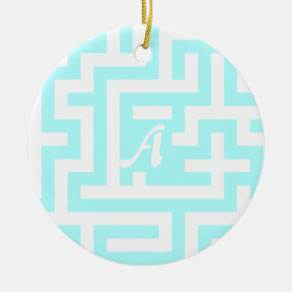 Celeste and White Maze Monogram Double-Sided Ceramic Round Christmas Ornament