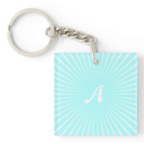 Celeste and White Sunrays Monogram Keychain
