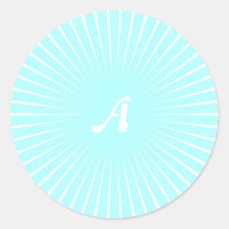 Celeste and White Sunrays Monogram Round Stickers