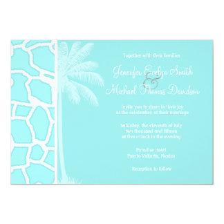 Celeste Giraffe Animal Print; Tropical Palm 5x7 Paper Invitation Card