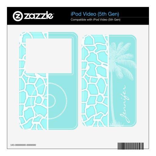 Celeste Giraffe Animal Print; Tropical Palm Decals For iPod Video