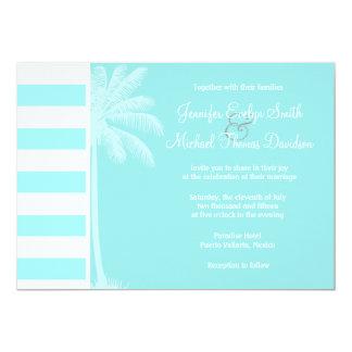 Celeste Horizontal Stripes; Palm Custom Invite