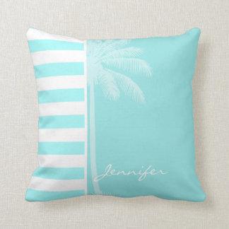 Celeste Horizontal Stripes; Palm Pillows