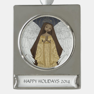 Celestial Angel Personalized Banner Ornament Silver Plated Banner Ornament