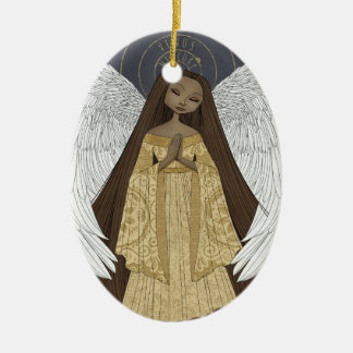 Celestial Angel Personalized Oval Ornament
