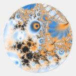 Celestial · Arte del fractal · Azul y naranja Pegatina Redonda