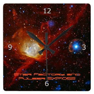Celestial Bauble, Nebula N90 and Pulsar SXP1062 Square Wall Clocks