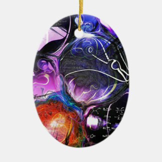 Celestial Bodies Double-Sided Oval Ceramic Christmas Ornament