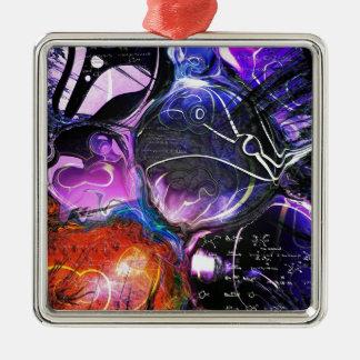 Celestial Bodies Square Metal Christmas Ornament