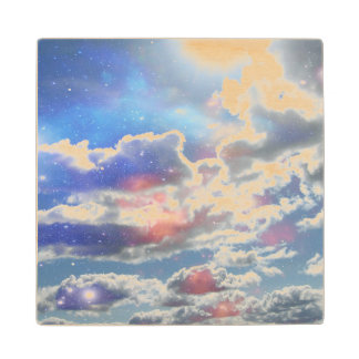 Celestial Clouds Maple Wood Coaster