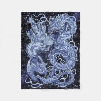 Celestial Dance Dragon & Phoenix Fleece Blanket