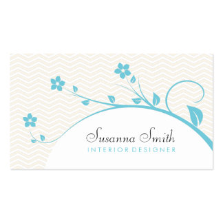 Celestial elegant card with flowers and chevrón business cards