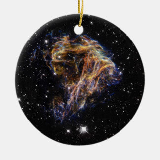 Celestial Fireworks Double-Sided Ceramic Round Christmas Ornament