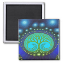 Celestial Forest Nature Pattern Abstract Art 2 Inch Square Magnet