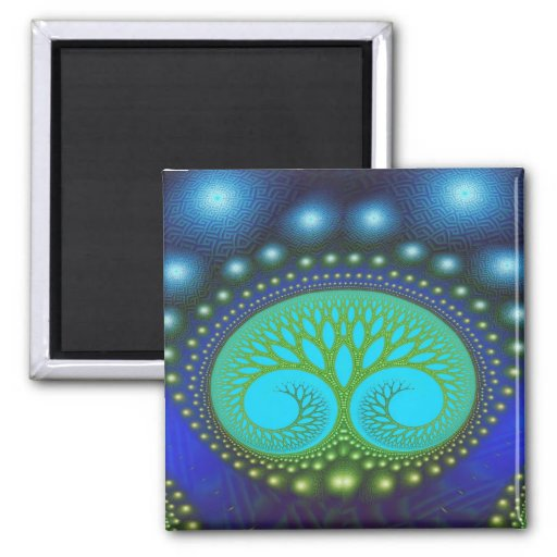 Celestial Forest Nature Pattern Abstract Art Magnets