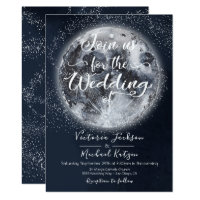 Celestial Full Moon and Stars Wedding invitations