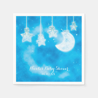 Celestial Glowing Stars & Moon Blue Sky Paper Napkin