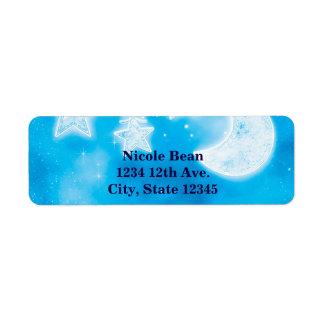Celestial Glowing Stars & Moon Blue Sky Shower Label