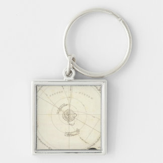 Celestial Map Silver-Colored Square Keychain