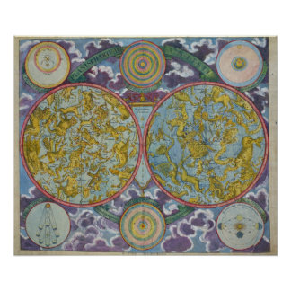 Celestial Map of the Planets Print