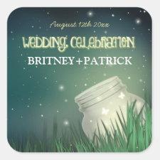 Celestial Mason Jar Firefly Wedding Favors Seals Square Sticker