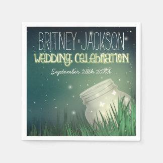 Celestial Mason Jar Firefly Wedding Napkins