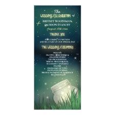 Celestial Mason Jar Firefly Wedding Programs Personalized Rack Card