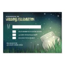 Celestial Mason Jar Firefly Wedding RSVP Cards