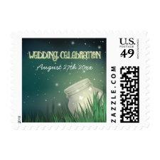 Celestial Mason Jar Firefly Wedding Stamps