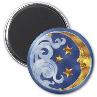 Celestial Moon and Stars 2 Inch Round Magnet