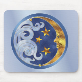 Celestial Moon and Stars Mouse Pad
